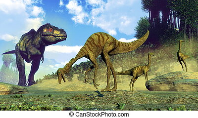 Tyrannosaurus rex surprising gallimimus dinosaurs - 3D...