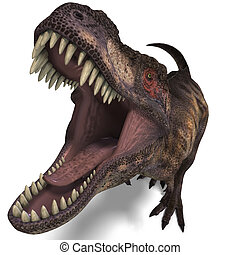 T-Rex. 3D render with clipping path and shadow over white