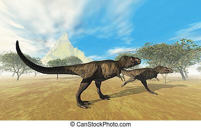 TYRANNOSAURUS REX - Two Tyrannosaurus Rex dinosaurs are on...