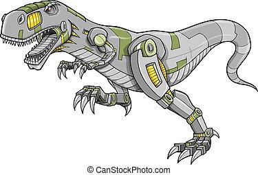 tyrannosaurus, robot, dinosauro, cyborg