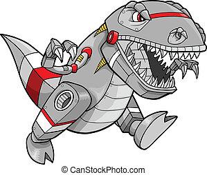 tyrannosaurus, robot, dinosauro, vettore