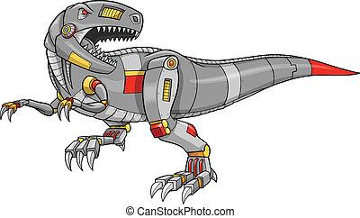 tyrannosaurus, robot, dinozaur, wektor