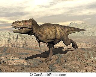 Tyrannosaurus running - 3D render - Tyrannosaurus dinosaur...