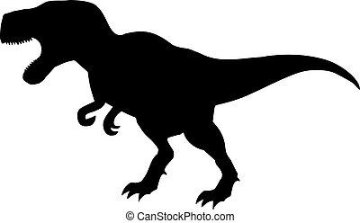 tyrannosaurus, silhouette, dinosaure