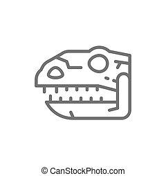Tyrannosaurus skull, t-rex head, dinosaur bones, prehistoric time line icon.