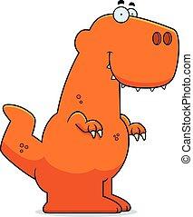 tyrannosaurus, sonriente, caricatura,  Rex