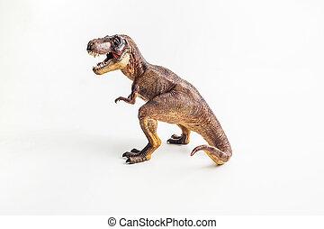 tyrannosaurus, t-rex, dinosaurus, achtergrond, witte