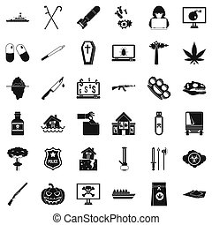 Tyranny icons set, simple style - Tyranny icons set. Simple...