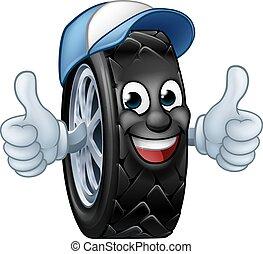 Tyre Cartoon Car Mechanic Service Mascot