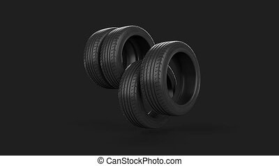 Tyre isolated on grey animated present gift with mask