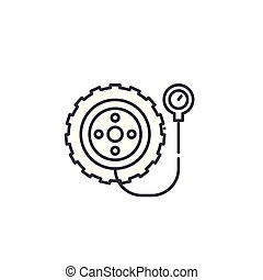 Tyre linear icon concept. Tyre line vector sign, symbol, illustration.