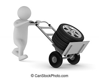 tyre on hand truck. Isolated 3D image