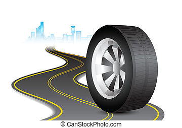 Tyre on Road - illustration of rolling tyre on road in...