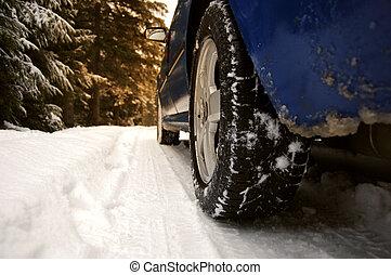 Tyre on snow