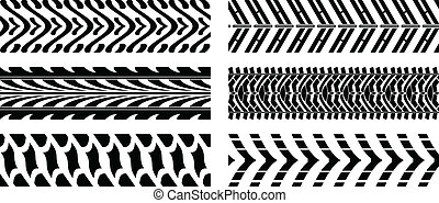 tyre pattern - Seamless vector illustration of five tyre...