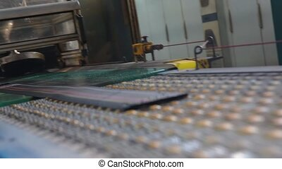 Tyre production machine conveyor. - Machine for marking...
