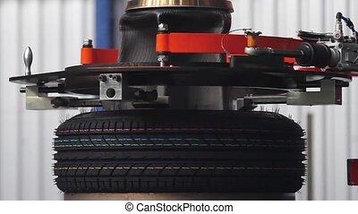 Tyre production machine. - Tire production machine close up....