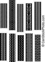 Tyre shapes - Set of tyre shapes isolated on white...