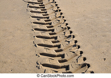 Tyre track in the sand
