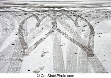 Tyre tracks - Heart shaped tyre tracks in the snow