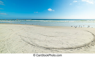 Tyre tracks on the sand in Daytona Beach foreshore