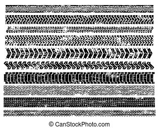Tyre Tracks - Grungy truck and car tyre track illustrations