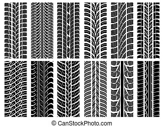 Tyre tracks - Vector illustration of the set of tyre tracks