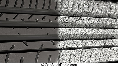 Tyre Tread Morphing To Asphalt - A flat car tire tread made...