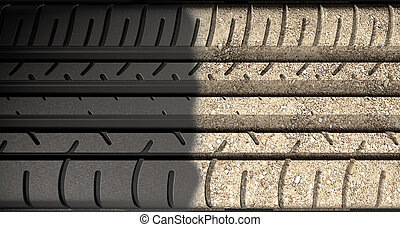 Tyre Tread Morphing To Ground - A flat car tire tread made...