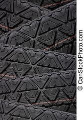 Tyre tread tracks close up