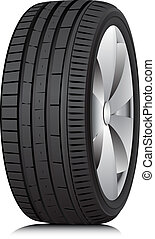 Matte Black tubeless low profile tyre on the shiny silver drive, isolated on white background.