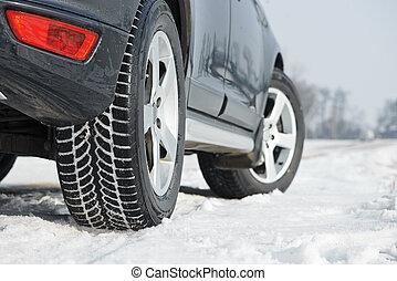 tyres, 冬, 自動車, installed, suv, 屋外で, 車輪