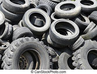 tyres, 自動車, 使われた, リサイクル, ごみ
