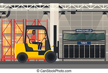 Tyres and windshield near forklift loader - Loader with...