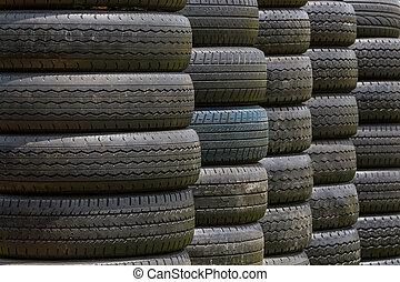 tyres., black , oud, stapel, wiel