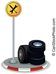 Tyres on the road illustration