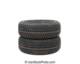 Tyres on white