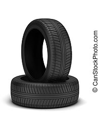 Tyres - High resolution 3d render of new tyres isolated on...