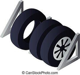 Tyres set garage icon, isometric style - Tyres set garage...