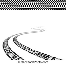 tyres, snoet, vektor, terræn, spor
