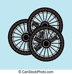 Tyres Vector - Black Tyres Set Vector Illustration