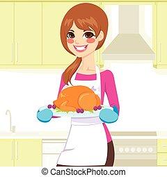 tyrkiet, kvinde, madlavning, taksigelse