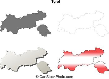 Tyrol blank detailed outline map set