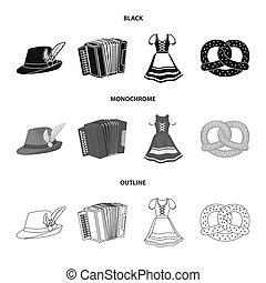 Tyrolean hat, accordion, dress, pretzel. Oktoberfest set collection icons in black, monochrome, outline style bitmap symbol stock illustration web.