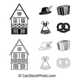 Tyrolean hat, accordion, dress, pretzel. Oktoberfest set collection icons in black, outline style bitmap symbol stock illustration web.
