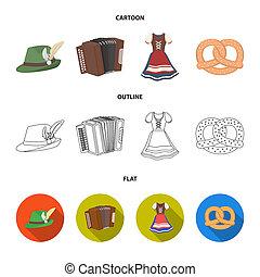 Tyrolean hat, accordion, dress, pretzel. Oktoberfest set collection icons in cartoon, outline, flat style bitmap symbol stock illustration web.