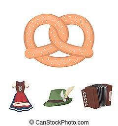 Tyrolean hat, accordion, dress, pretzel. Oktoberfest set...
