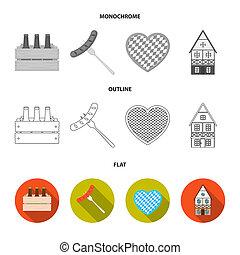 Tyrolean hat, accordion, dress, pretzel. Oktoberfest set collection icons in flat, outline, monochrome style bitmap symbol stock illustration web.