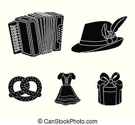 Tyrolean hat, accordion, dress, pretzel. Oktoberfestset...