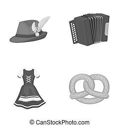 Tyrolean hat, accordion, dress, pretzel. Oktoberfestset collection icons in outline style raster, bitmap symbol stock illustration web.